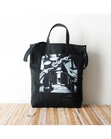 Tote bag en canvas imprimé MOTO